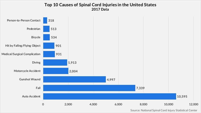 Top 10 Causes of Spinal Cord Injuries in the U.S. chart